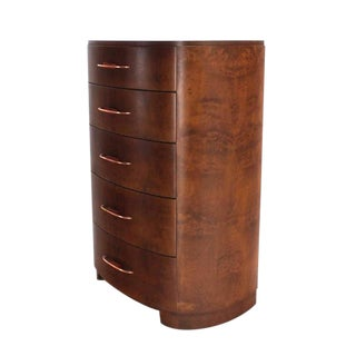 Art Deco 5 Drawer Rounded High Chest of Drawers Dresser