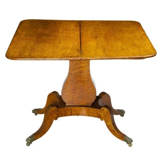 Classical Quilted Tiger Maple Lyre Card Table