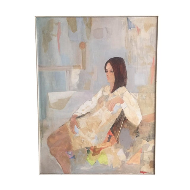 Mod Abstract Portrait Painting - Image 1 of 7