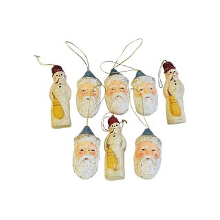 Collectible Designer Teena Flanner Santa & Snowman Christmas Tree Ornaments - Set of 8