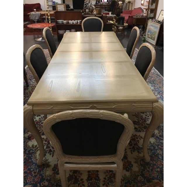 Washed Wood Dining Table & Chairs - Set of 7 - Image 3 of 7