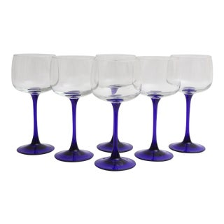 French Navy Blue -Stemmed Wine Glasses - Set of 6