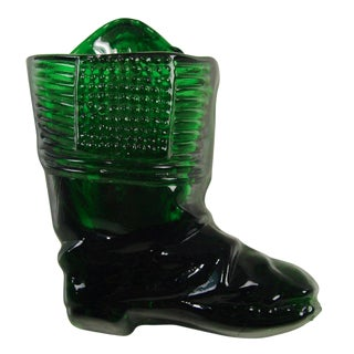 Green Glass Boot Match Holder & Striker