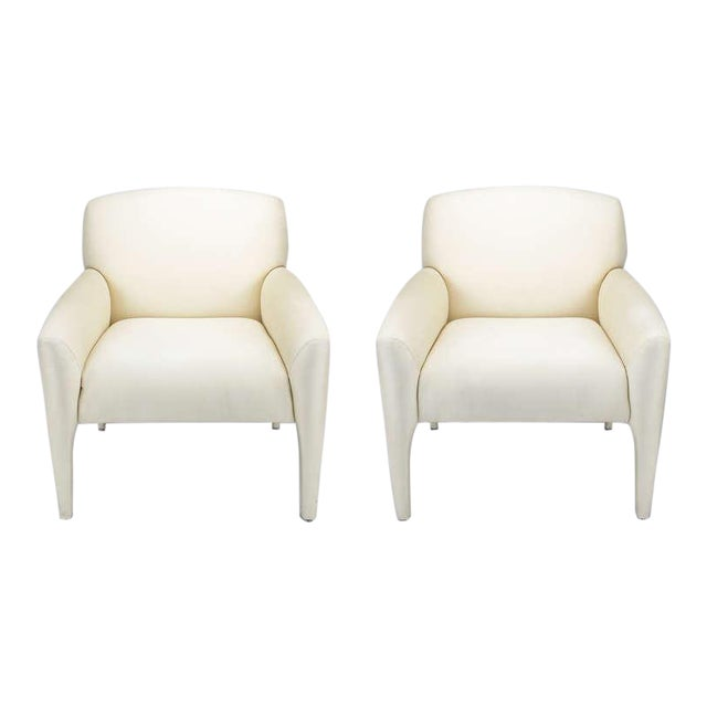 Pair Vladimir Kagan Lounge Chairs In Ivory Silk - Image 1 of 9