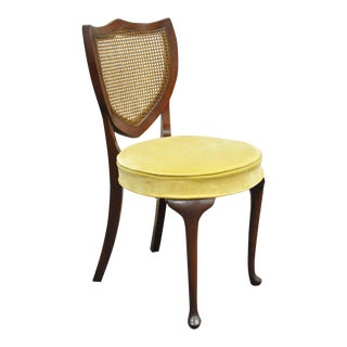 Hickory Queen Anne Mahogany Shield Cane Back Vanity Chair