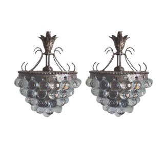 Rare Pair of Silver and Crystal Viennese Chandeliers