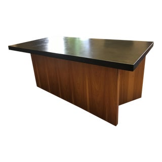 Contemporary Desk with Stained Limestone Top and Pecan Base