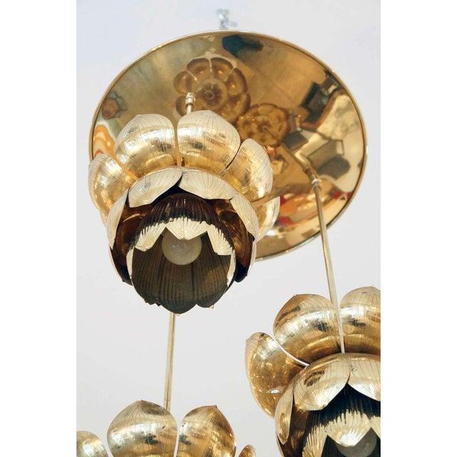 Triple Light Brass Lotus Pendant - Image 6 of 8