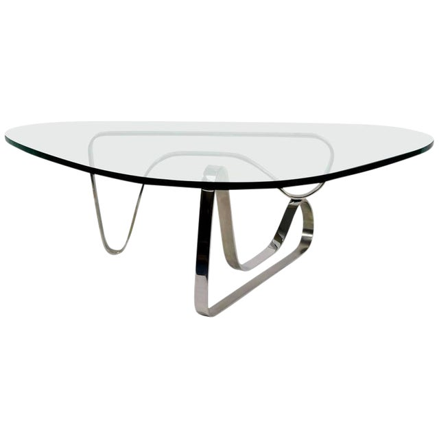Luxury Noguchi Style Coffee Table With Stainless Steel Base Decaso