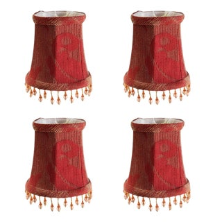 Red Tapered Chandelier Shades - Set of 4