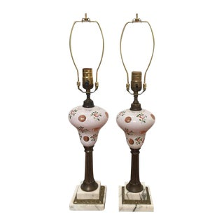 Antique Bohemian Czech Glass Lamps- A Pair