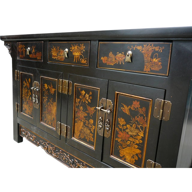 Vintage Golden Graphic Low Console Table - Image 5 of 8