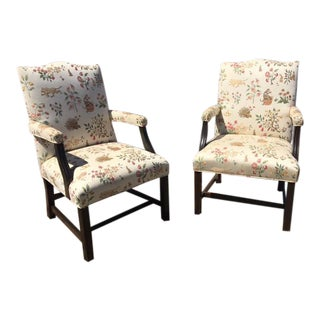 George III Style Upholstered Armchairs - A Pair
