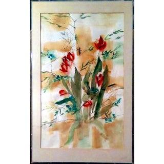 "Sara Sally Glen Modern ""Tulips"" Watercolor Painting"