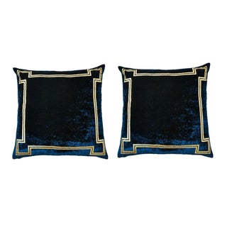 Navy and Gold Velvet Regency Pillows - Pair