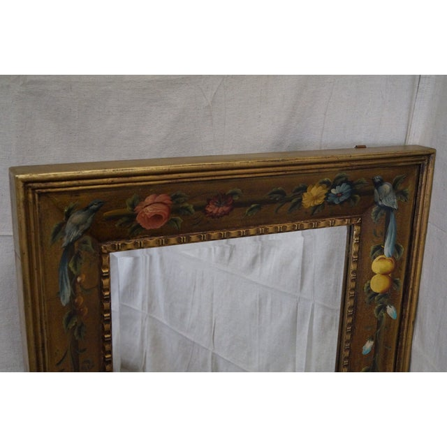 Floral Hand Painted Gilt Frame Beveled Wall Mirror - Image 7 of 10