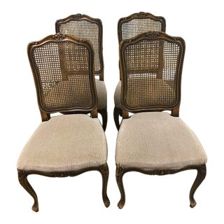 Vintage French Provincial Caned High-Back Dining Chairs - Set of 4