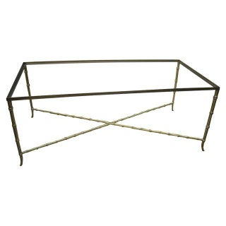 Hollywood Regency Gold Faux Bamboo Coffee Table