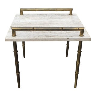 Mid-Century Italian Travertine Marble Faux Bamboo Side Table