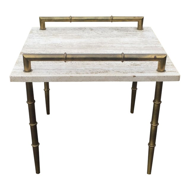 Mid Century Square Steel Coffee Table With Black Marble: Mid-Century Italian Travertine Marble Faux Bamboo Side