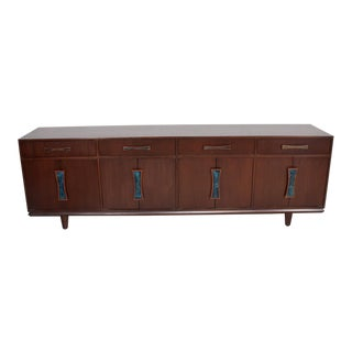 Mid-Century Modern Cal Mode Walnut Credenza with Inlay Pull Handles