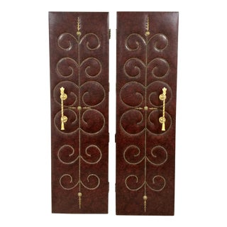 Studded Hollywood Regency Doors - A Pair