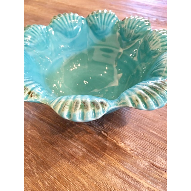 Italian Majolica Turquoise Shell Motif Bowl - Image 3 of 5
