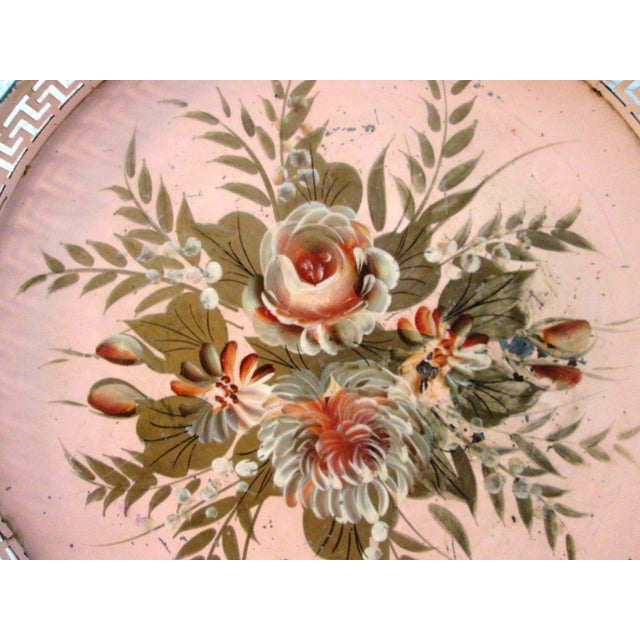 Vintage Tole Painted Pink Greek Key Tray - Image 5 of 7