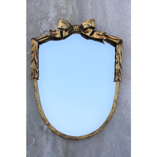 Dorothy Draper Style Gilt Bow & Shield Mirror - Image 2 of 6