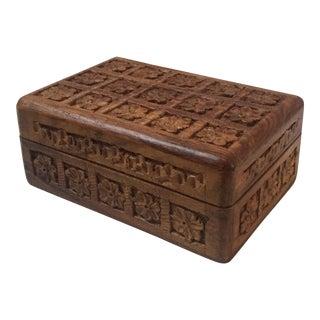 Indian Hardwood Floral Carved Box