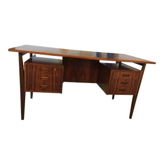 Arne Vodder Style Danish Mid Century Rosewood Floating Desk