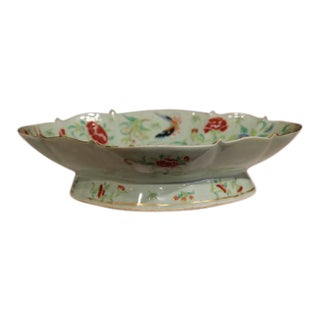 19th Century Chinese Hand-Painted Porcelain Dish With Peacocks and Butterflies