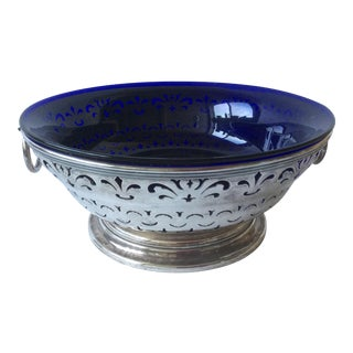 Antique Sheffield Silver and Cobalt Blue Bowl