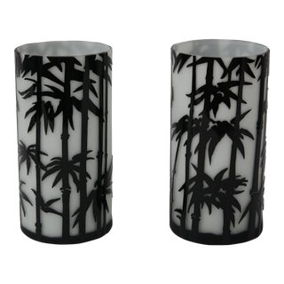 Cameo Glass Black Bamboo Motif Vases - A Pair