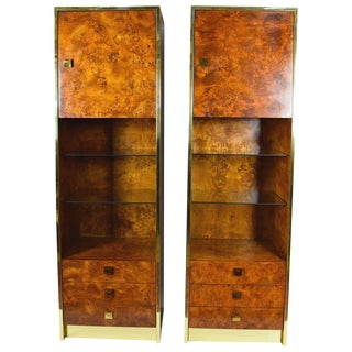 Two-Piece Milo Baughman Styled Burled Walnut Wall Units by Founders of Thomasvile
