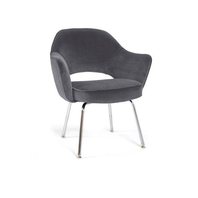 Image of Saarinen Executive Armchairs in Gunmetal Grey Velvet, Set of Six