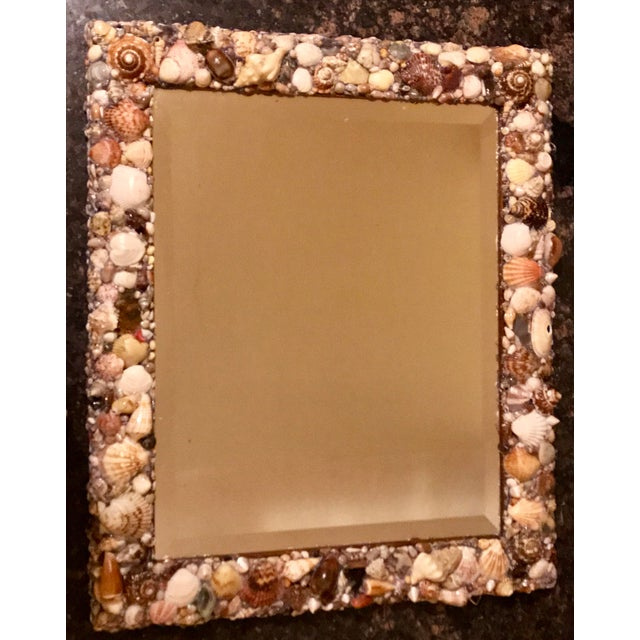 Custom beveled shell embellished mirror no iii chairish for Embellished mirror frame