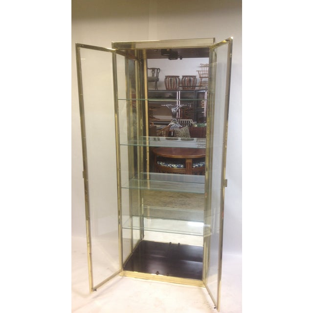 Image of 1980's Style Brass and Glass Cabinet