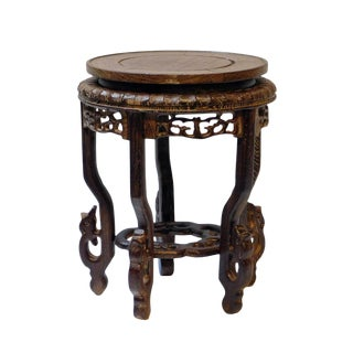 Chinese Hand Carved Chicken Feather Wood Tall Round Table Top Display Stand