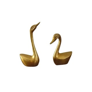 Mini Brass Swans - A Pair