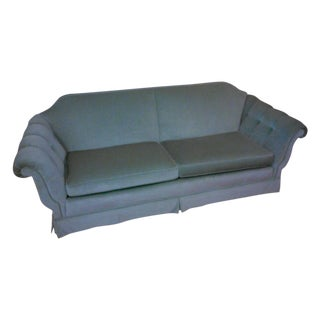 Vintage Custom Aqua Velvet Sofa