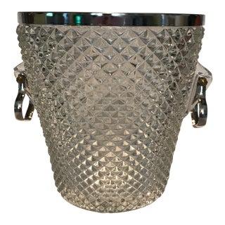 Crystal & Silver Plate Handles Ice Bucket