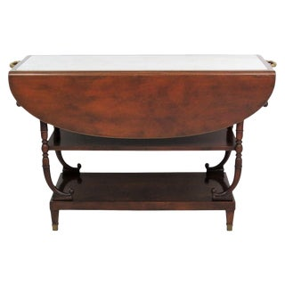 Directoire Style Marble Top Mahogany Drop Leaf Server Table