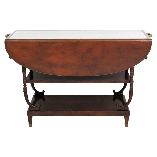 Directoire Style Marble Top Mahogany Drop Leaf Server Table - Image 1 of 8