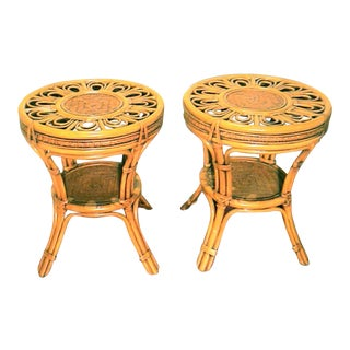 Bamboo and Rattan Side Tables - A Pair