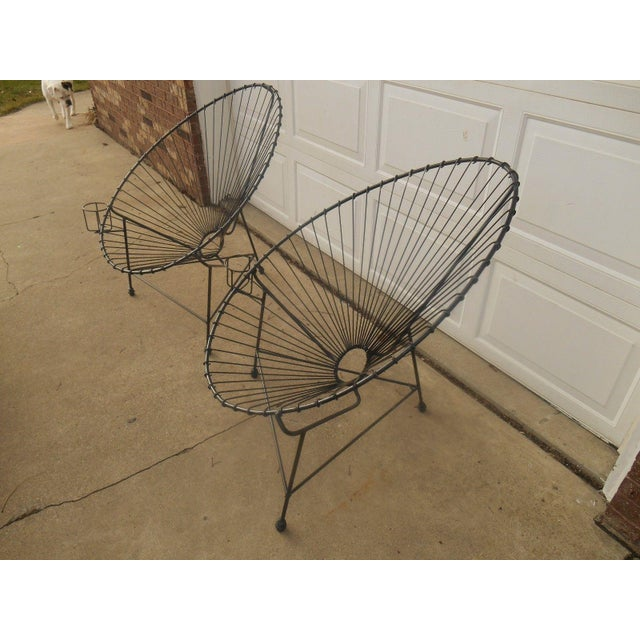 Mid-Century Modern Metal Egg Chairs - A Pair - Image 5 of 7
