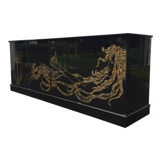 Stylish Vintage Modern Credenza with Gold Motif