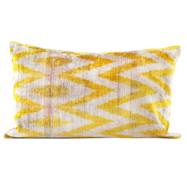 Image of Yellow Silk Velvet Ikat Pillow
