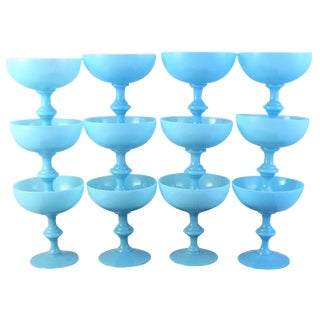 Vintage Portieux Vallerysthal French Blue Opaline Champagne Coupes - Set of 12