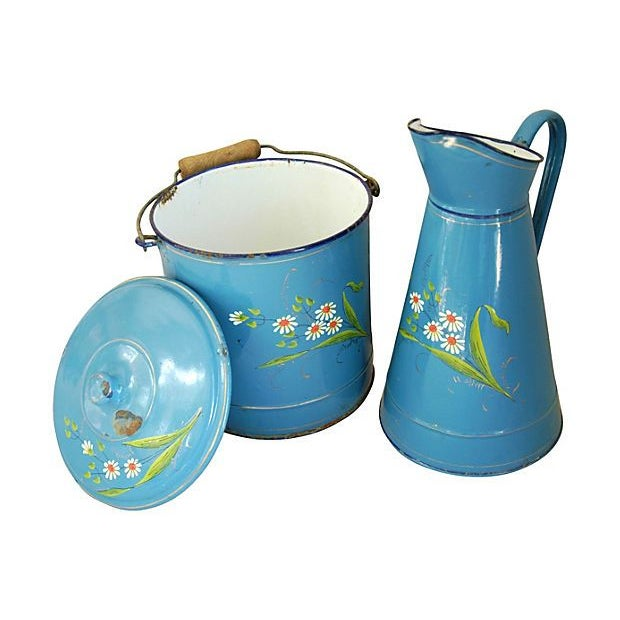 Image of 1930s French Enameled Pitcher & Pail - 2 Pieces